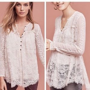 Anthropologie Scalloped Lace Henley